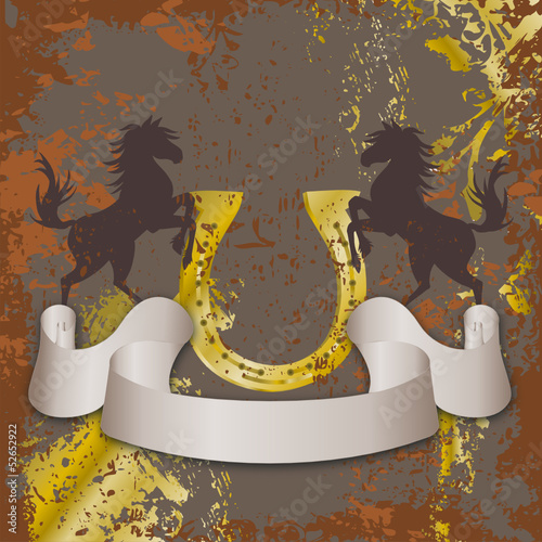 vintage style horse riding vektor emblem or background