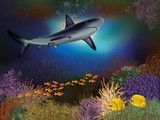 Underwater wallpaper with shark and fishes, vector