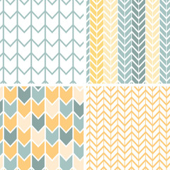 Vector set of four gray and yellow chevron patterns and