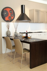 Decorated table in a modern and elegant kitchen