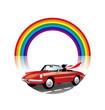 虹とオープンカー