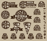 Set of pizza design elements.