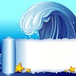 Ocean Wave scratched Poster Banner-Onda Oceano Carta Strappata