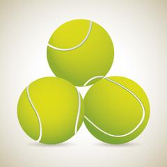 three tennis ball