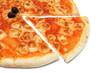 Pizza mozzarella with a slice removed
