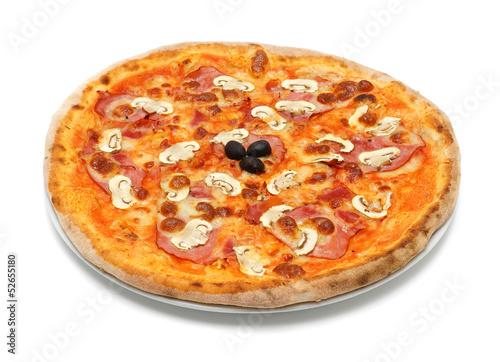big italian pizza with ham and mushrooms