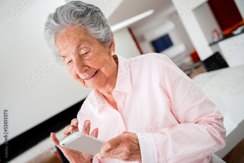 Woman using app on cell phone