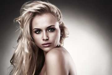 Beautiful blond woman. The background light