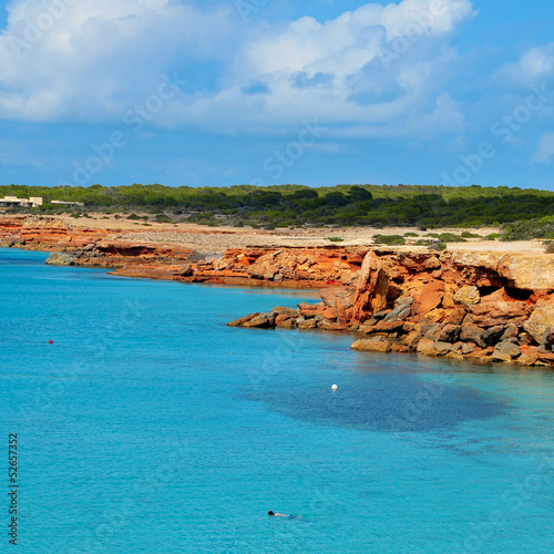 Cala Saona coast in Formentera, Balearic Islands, Spain