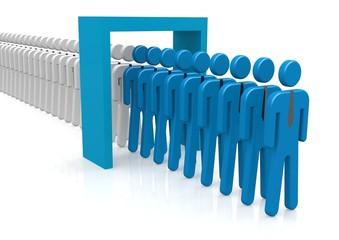 People and door blue