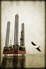 Seagull and oilrig