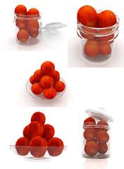 Set of peaches on a white