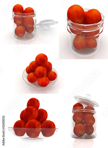 Set of peaches on a white