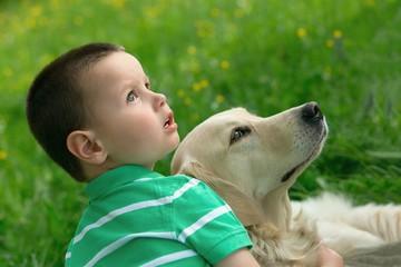 Child and golden retriever