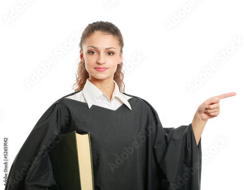 Portrait of a young female judge pointing something - 52659142