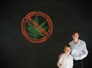 Thumbs up boy business man and teacher with no weed marijuana