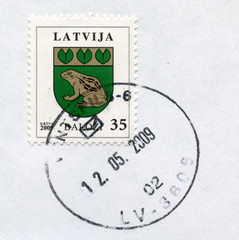 "Canceled latvian stamp ""Balozhi"""