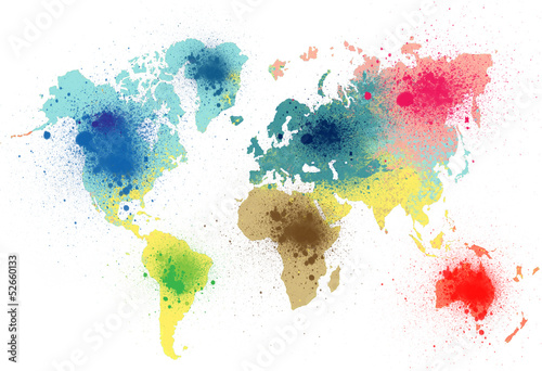 Poster colorful world map with paint splashes