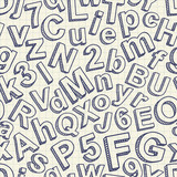 Abstract doodle font seamless pattern. Vector illustration.