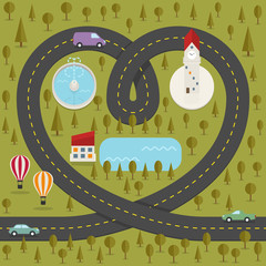 Road in the shape of heart. Vector illustration.