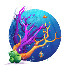 Illustration of the underwater world with corals and fish fun.