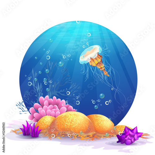 Illustration of underwater rocks with seaweed and fish fun.