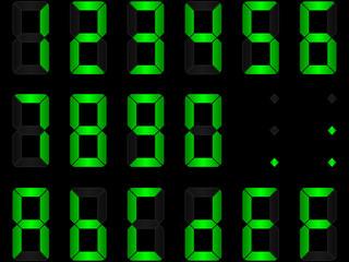 chiffres digitaux verts