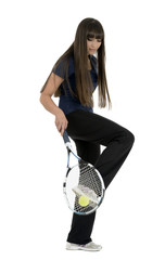 A pretty, athletic female tennis player isolated on a white back