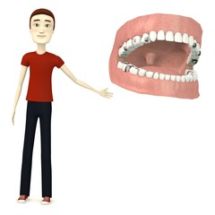 3d render of cartoon character with teeth and fillings