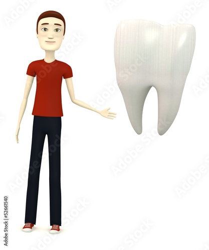 3d render of cartoon character with tooth