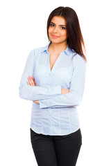 happy young business woman in blue shirt