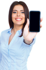 Young woman showing display of mobile cell phone