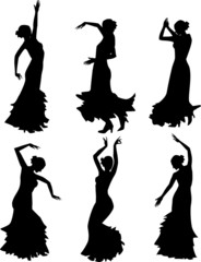 Six silhouettes of flamenco dancer