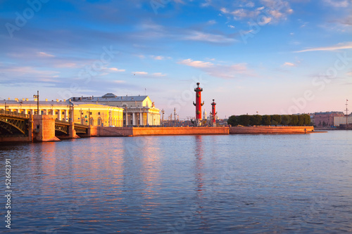 Spit of Vasilievsky Island  in summer morning