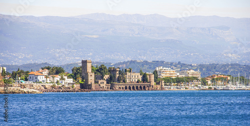 La Napoule and the castle from the sea, south of France