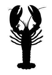 Single vector silhouette of crawfish isolated on white.