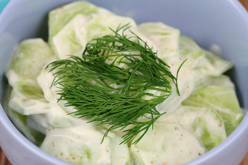Cucumber salad with sour cream decorated with fresh dill