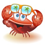 Crab Cartoon with Sunglasses-Granchio con Occhiali da Sole