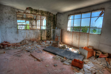 Dismantled office. Abandoned sugar factory