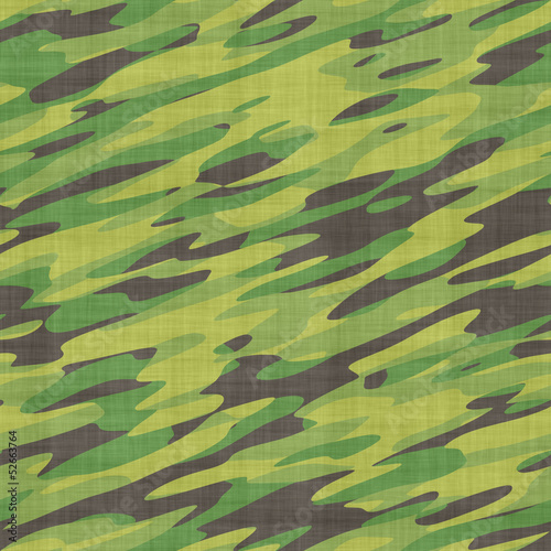 Seamless camouflage pattern on fabric