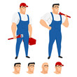 Funny plumber mascot in different poses
