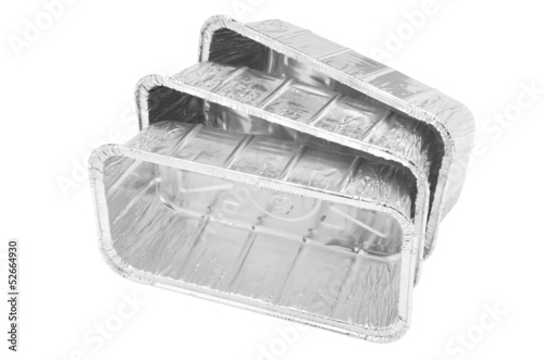 aluminum foil food container tray on white background