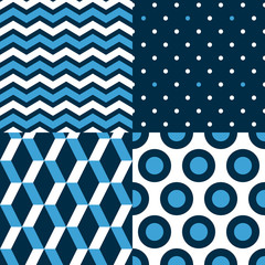 Seamless patterns set in blue and white - chevron, dots, circles