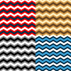 Chevron seamless patterns collection in different colors, vector