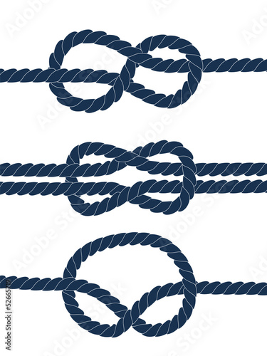 Nautical blue knots on white background, vector
