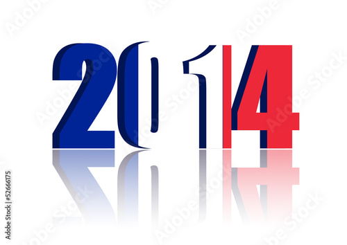New Year 2014 with Flag of France - a 3d image