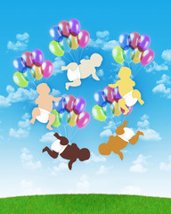 five babies of different human races flying on colorful balloons