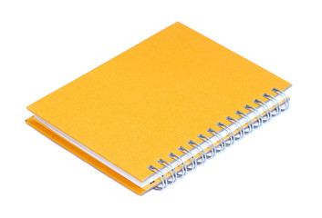 Yellow notebook isolated on white background