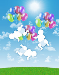 newborn triplets flying on colorful balloons in the sky