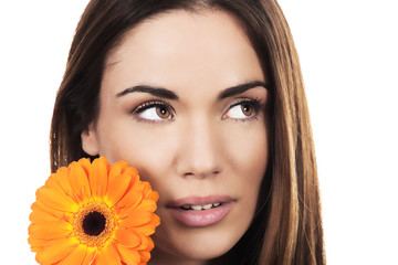 woman portrait with orange flower